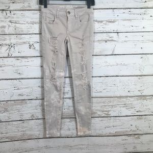American Eagle Distress Coloring Pink Jeans